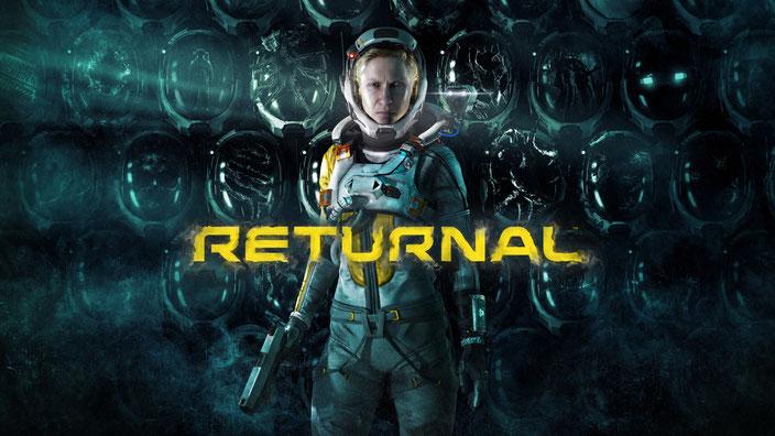 Key-Art mit Logo und Protagonistin Selene des Playstation 5 Spiels Returnal von Housemarque