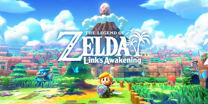 The Legend of Zelda, Link's Awakening, Link, Cocolint, Marin, Tarin, Windfisch, Insel, Zelda, Color, Dungeon, Hyrule, Schild, Schwert, Komet, Blooper, Shy Guy, Goomba, Okarina, Instrumente, Wald, Bumerang, Bomb, Herzteil, Muschel, Moblin, Nintendo, Switch