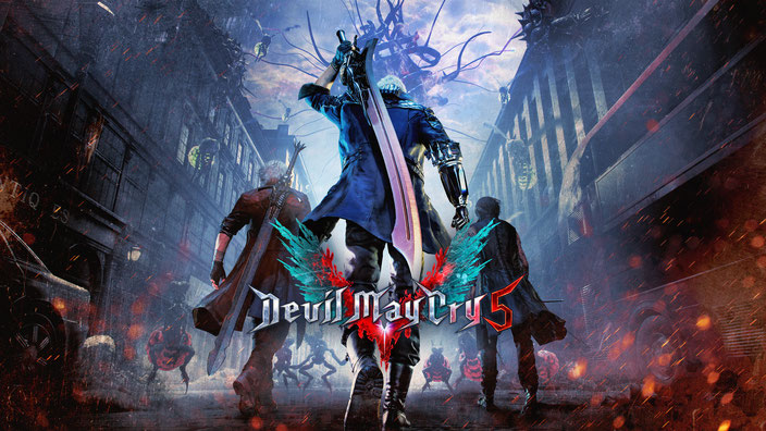 Devil May Cry 5, Dante, Nero, V, Trish, Lady, Mundus, Vergil, Capcom, RE Engine, Devil Trigger, Devil Breaker, Urizen, Sparda, Red Queen, Blue Rose, Kyrie, Cavaliere, Balrog, Cerberus, Griffon, Shadow, Nightmare, Orb, Combo, Stylish, Rank, Nico