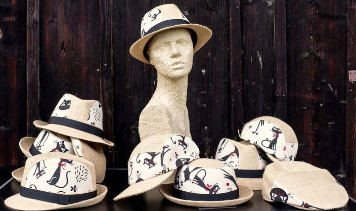 4 Upcycling Hut- und Mützenmodelle in limtierter Auflage.
