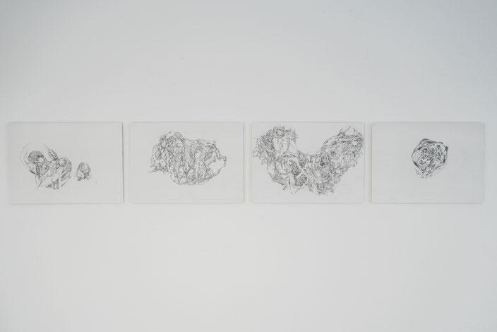 palinoptischer Strich 1 – 4, 2018, Bleistiftzeichnung auf Steinpapier.