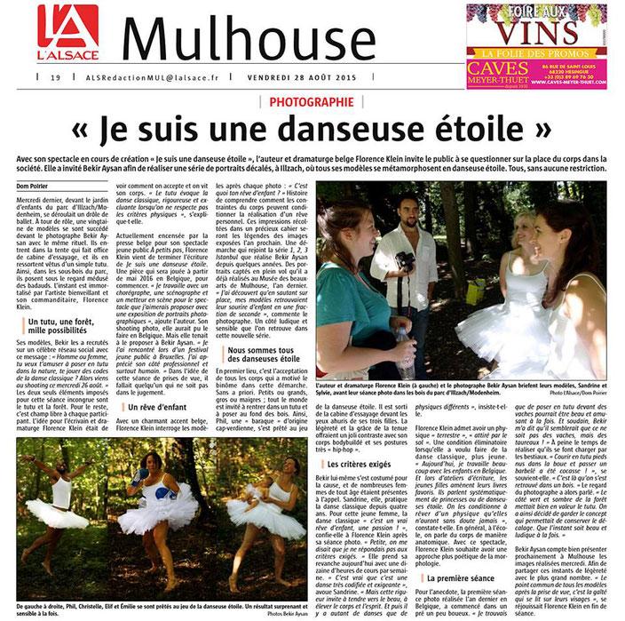 Articel de Presse  - Je suis une danseuse étoile de Florence A.L.Klein - Exposition de photographies de Bekir Aysan  Infusion asbl -