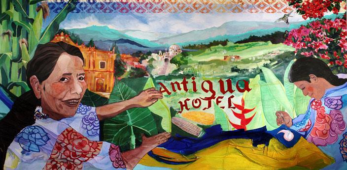 El origen de la palabra, encargo de Hotel Antigua Chiapas, 2013 (Téc.mixta/tabla 2,5x1,8m)