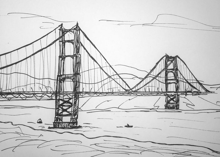 Golden Gate Bridge Handskizze Multiliner 0.7 schwarz weiss copic alkly draft san Francisco SF