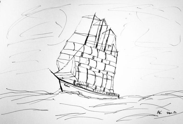 segelschiff entdeckung der langsamkeit john franklin expedition stift pen inc black white schwarzweiss handskizee