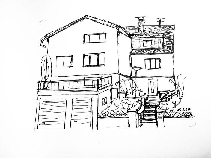 handskizze, pen, schwarzweis, haus, home