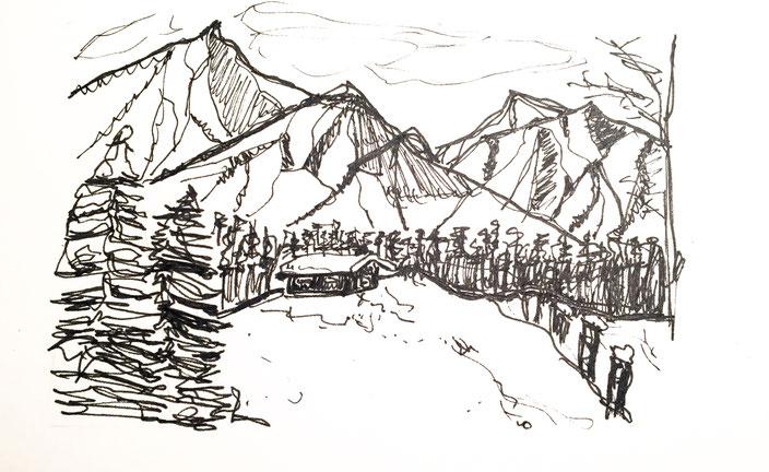 schnee, hütte, gebirge, schwarzweiss, skizze, handgemalt, bäume, wald