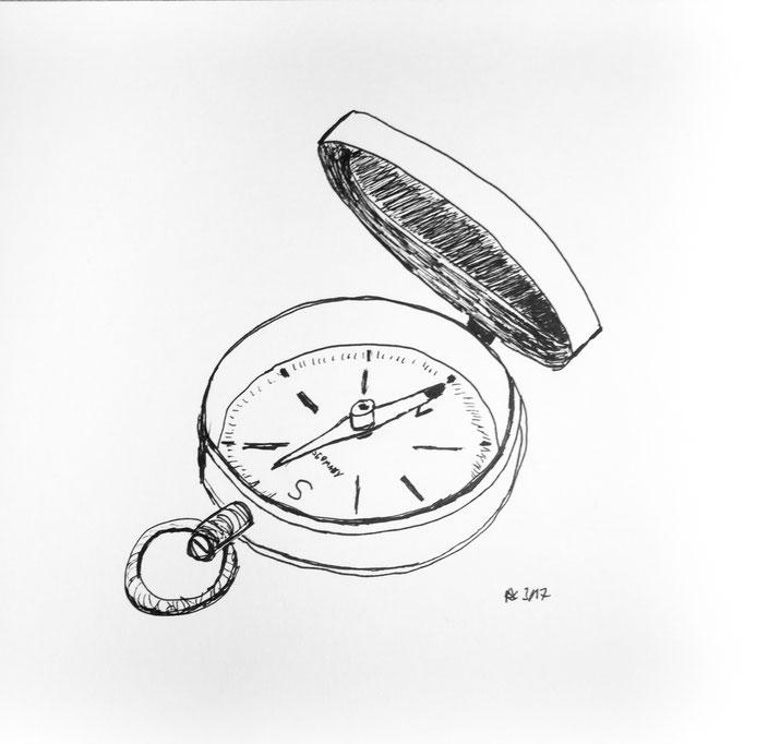 kompass handskizze schwarzweis alkly scrum pm