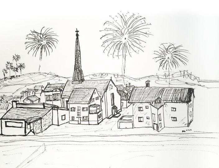 schwarz weiß zeichnung silvester pen ink fireworks feuerwerk reichenbach fils