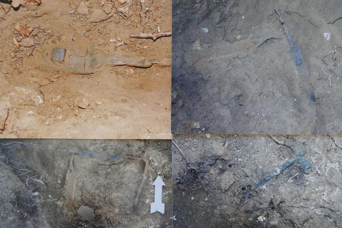 Foto Links oben: Schwertangel und Teil der Schwertscheide (Ansicht bei Entdeckung);   Restliche Fotos erfolgten während der offiziellen Grabung
