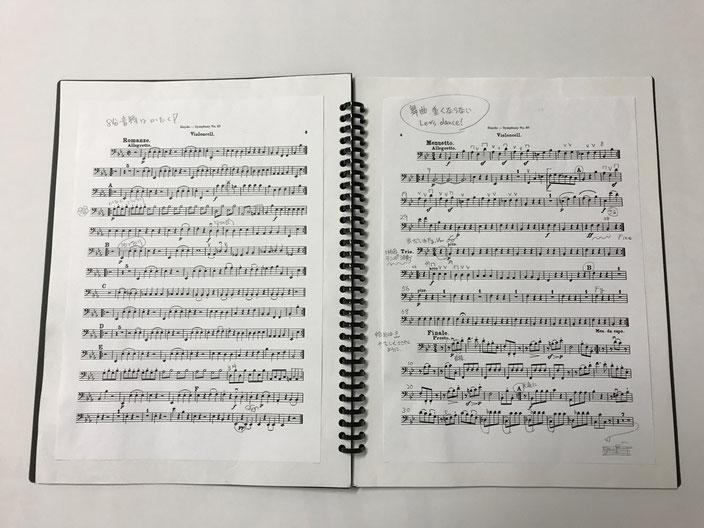 「はる楽の~と」にA4判の譜面を貼って、書き込みをしたもの