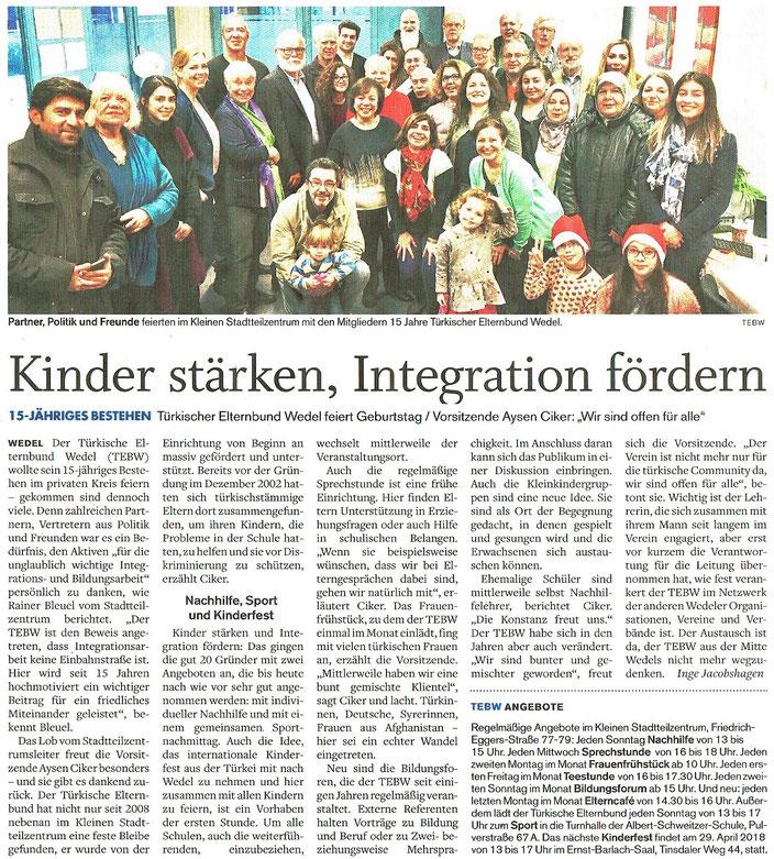Wedel-Schulauer Tageblatt vom 22.12.2017 - zum Vergrößern anklicken