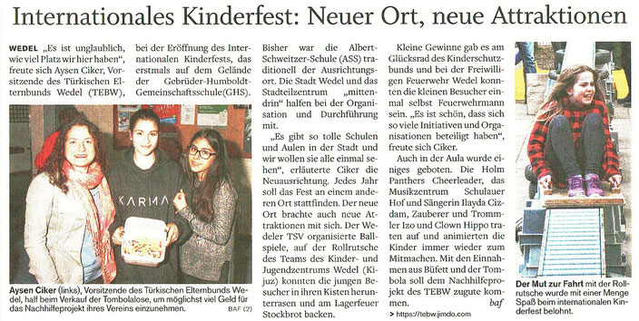 Wedel-Schulauer Tageblatt vom 03.05.2017 - zum Vergrößern anklicken