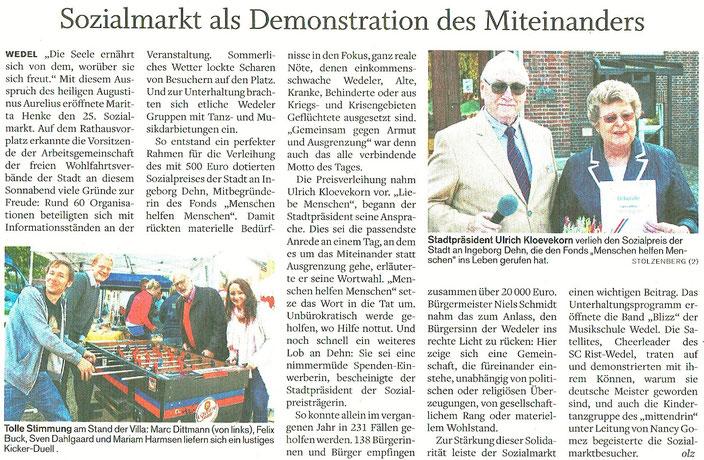 Wedel-Schulauer Tageblatt vom 04.09.2017 - zum Vergrößern anklicken