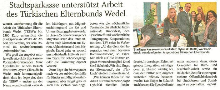 Wedel-Schulauer Tageblatt vom 30.03.2017 - zum Vergrößern anklicken