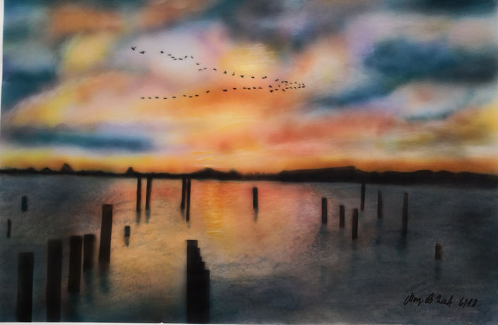 Sonnenuntergang, 35 x 50 cm auf Papier
