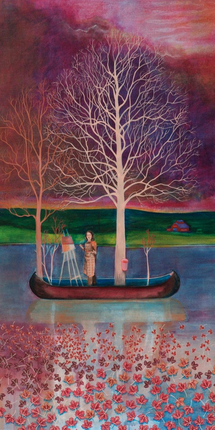 Cohabitation. Acrylique sur toile. 122 cm x 61 cm. 2014.  Copyright Johanne Bilodeau ----- DISPONIBLE