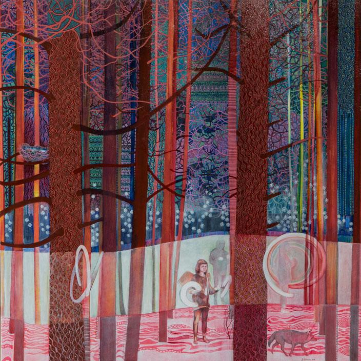 La plantation, Pinus resinosa. Acrylique sur toile. 101 cm x 101 cm. 2015.  Copyright Johanne Bilodeau ----- DISPONIBLE