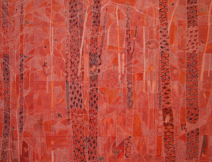 La forêt intérieure. Acrylique sur toile. 92 cm x 122 cm. 2016.  Copyright Johanne Bilodeau