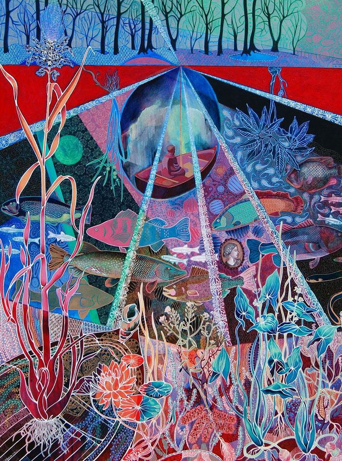 En bordure des Îles-de-la-Paix. Acrylique et crayons prismacolor sur toile. 122 cm x 92 cm. 2016.  Copyright Johanne Bilodeau ----- VENDU