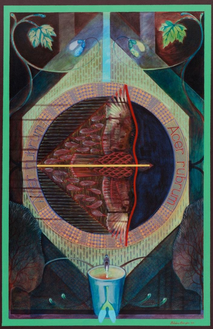 Acer rubrum. Acrylique sur toile. 91 cm x 61 cm. 2014.  Copyright Johanne Bilodeau ---- DISPONIBLE