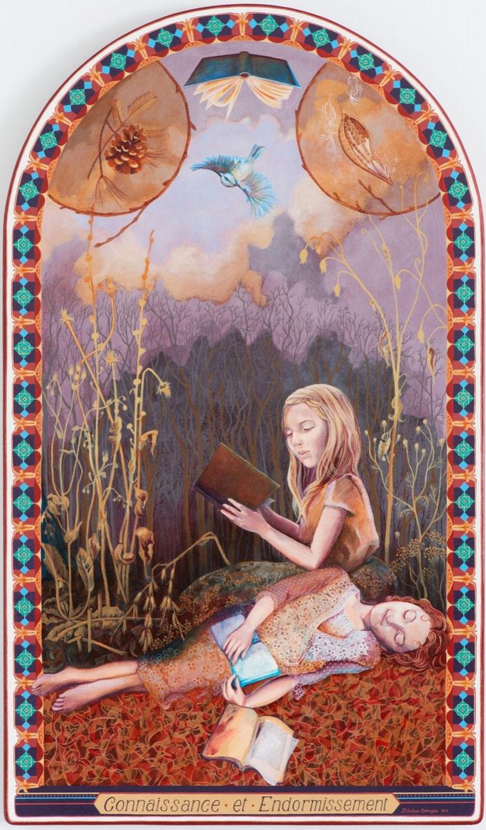 Connaissance et Endormissement. Acrylique sur toile marouflé sur bois. 121 cm x 71 cm. 2014.  Copyright Johanne Bilodeau