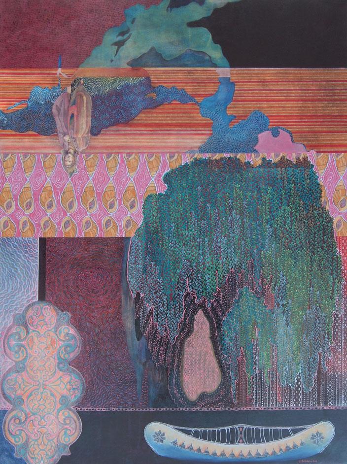 Le saule pleureur était son refuge. Acrylique sur toile. 122 cm x 92 cm. 2016.  Copyright Johanne Bilodeau ----- DISPONIBLE