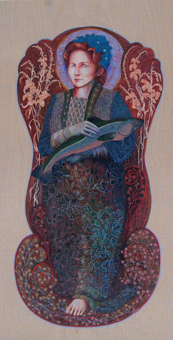Figure de proue, Florence était une femme de petite taille. Acrylique sur bois. 122 cm x 61 cm. 2016.  Copyright Johanne Bilodeau