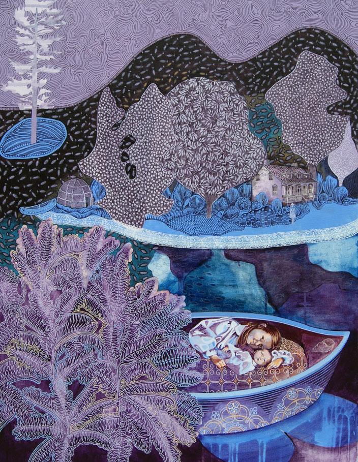Les deux lacs, Saint-Louis et des Deux-Montagnes. Acrylique et crayon sur toile, 102 cm x 76 cm, 2017.  Copyright Johanne Bilodeau  ----- DISPONIBLE