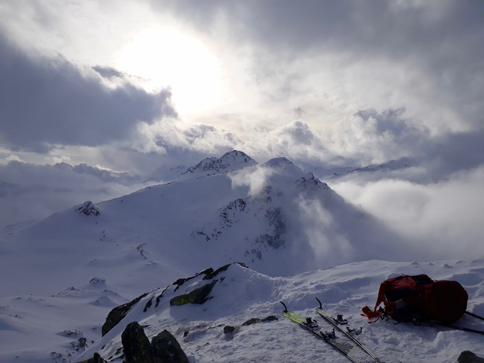 Skitour, Engadin, Julierpass, Bivio, La Veduta, Piz Campagnung, Crappa da Tocf, Val d'Agnel, Felsentor, Piz Alv