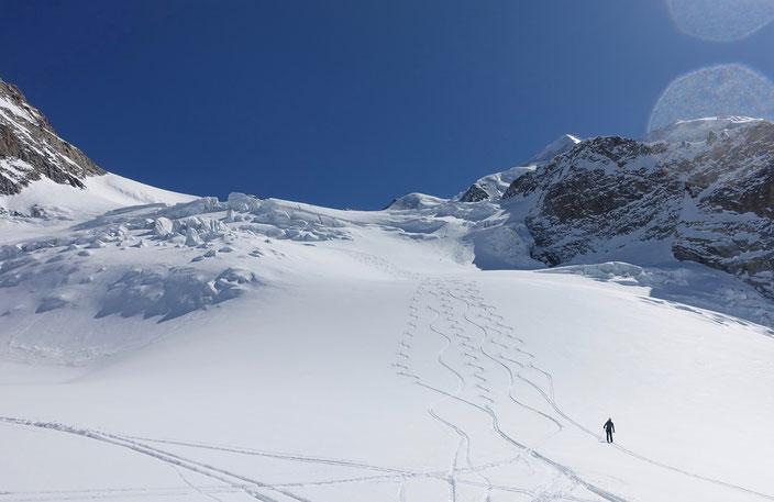 Skitour, Skihochtour, Piz Palü, Engadin, Spalten, Bernina, Schweiz, Diavolezza, ÖV, ÖV-Skitour