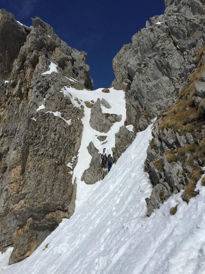 Skitour, Chaiserstock, Lidernen, Nordostabfahrt, Steilstufe