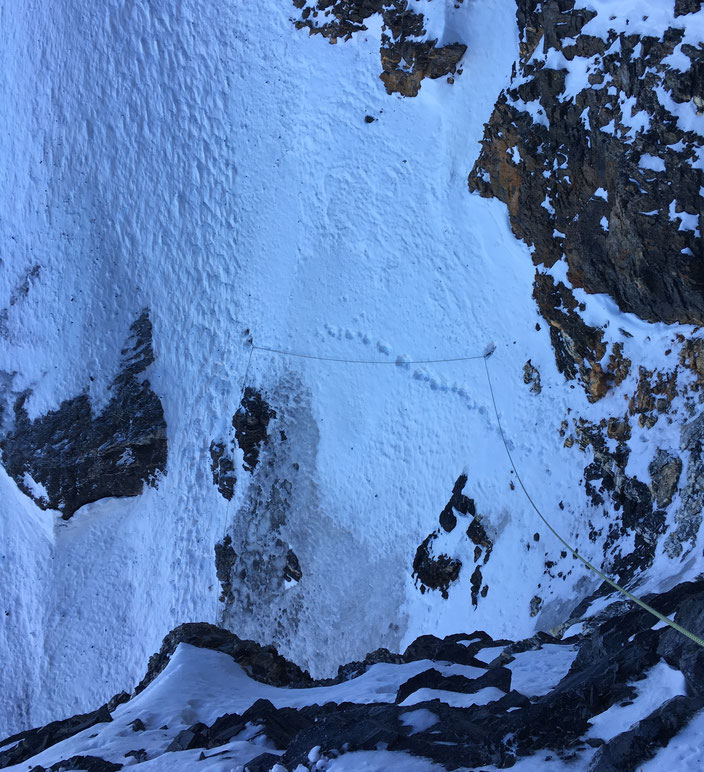 Eiger Nordwand, Eiger Northface, Eiger Heckmair, Rampeneisfeld, brüchiges Band
