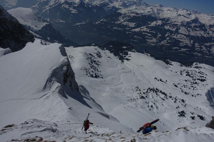 Skitour, Schweiz, Alvier, Südgrat, Südanstieg, Schlussanstieg, Fussaustieg