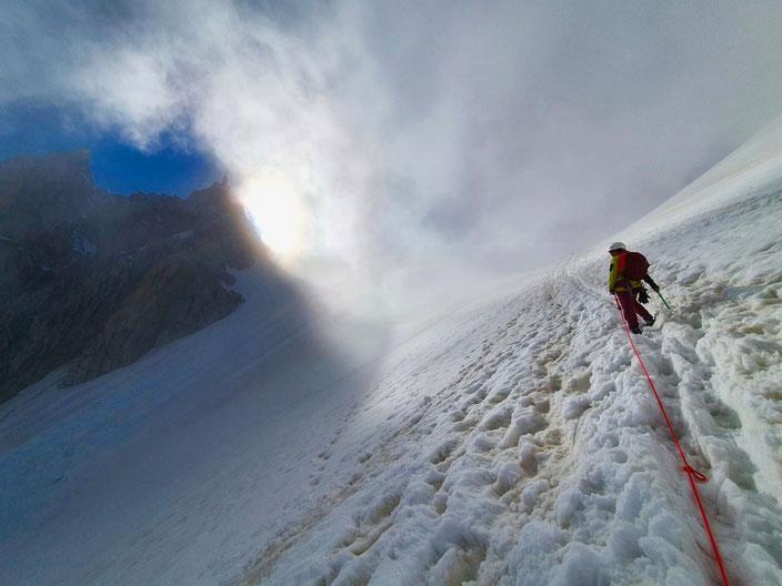 klettern, Mehrseillängen, Chamonix, Mont Blanc, Trad, Granit, Aiguille du Midi, Rébuffat, Bacquet-Rébuffat