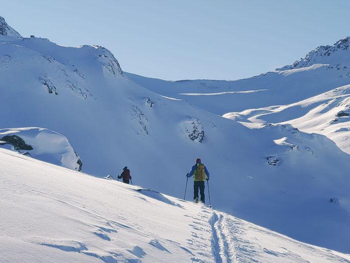 Skitour Piz d'Emmat Dadaint, Julierpass, Graubünden, Leg Grevalsalvas, öv, Bivio, Engadin, Piz da las Coluonnas