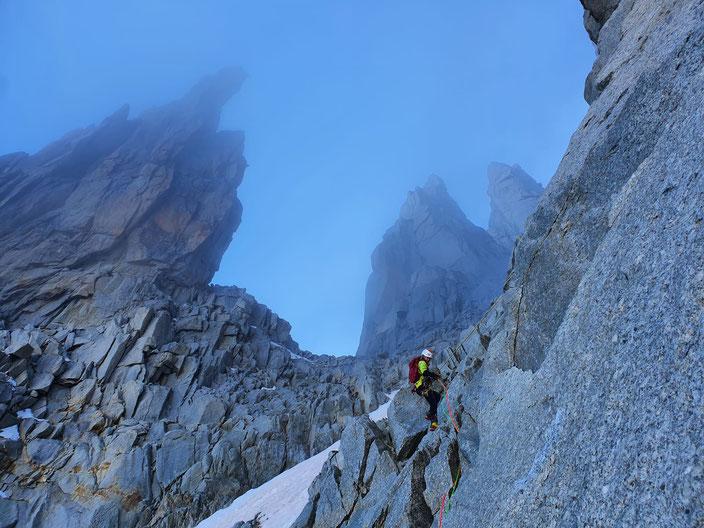 e, Voie des Suisses, O Sole Mio, Schweizerroute, Swiss route, Bergschrund, Zustieg, Mont Blanc du Tacul