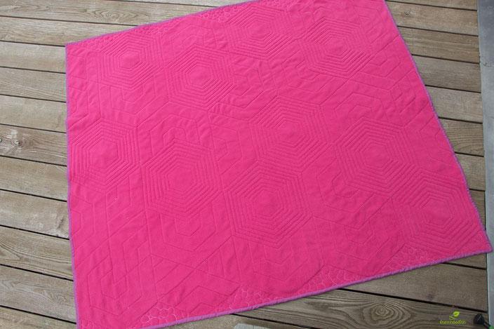 Rückseite des Quilts mit dem Steppmuster / Quiltmuster