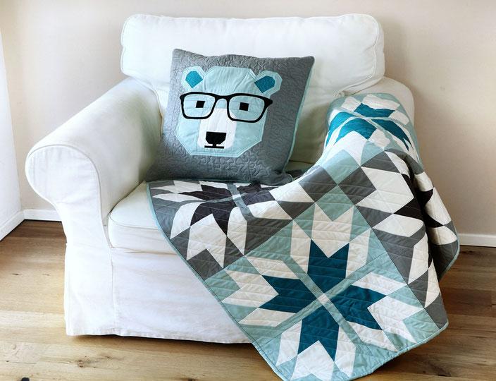 Prairie Tracks Quilt and Bjorn Bear Quilt Pillow