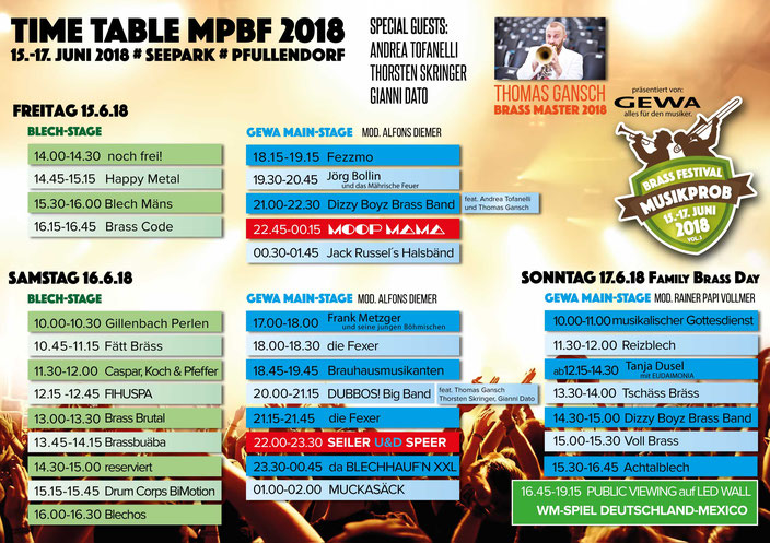 Time-Table Musikprob Brass-Festival 2018