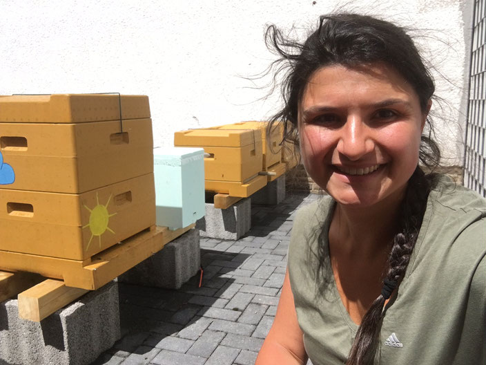 """Mein """"Wirtschaftsvolk"""" (links), meine 3 Ableger (eine der Kisten ist leer) und ich an einem windigen Tag an meinem Bienenstand"""