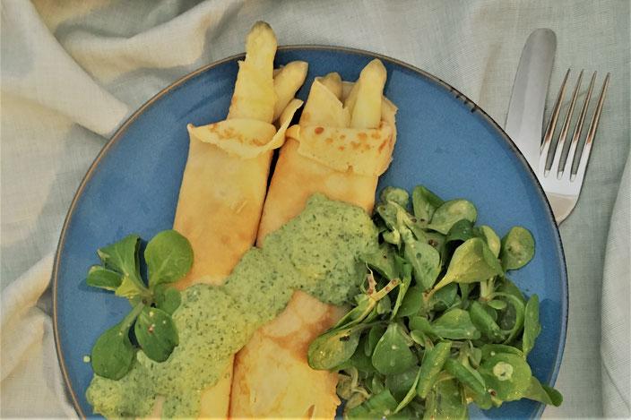 Spargel Im Pfannkuchen Mit Grüner Soße Moni Monaco