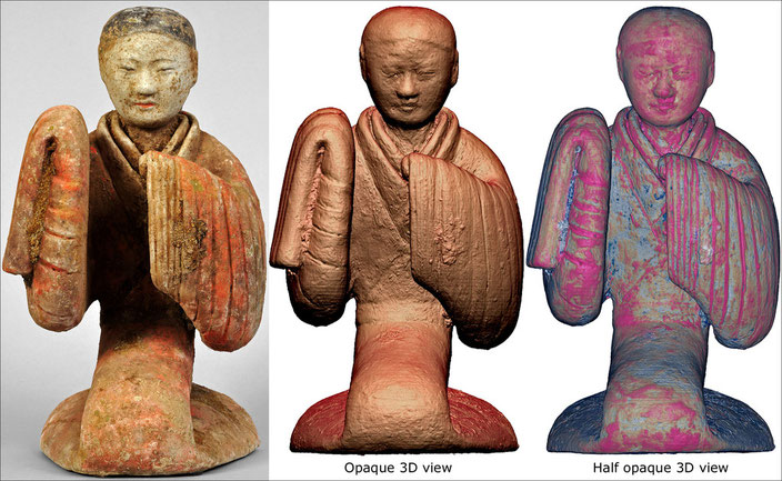 Fake Han Dynasty Dancer, China (supposedly 206 BC-220 AD) • Terracotta & polychromy • Private collection