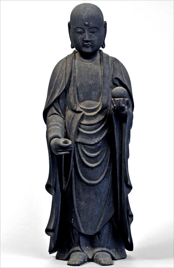 Buddhist monk Jizō Bosatsu, Japan • Wood, glass, copper • Kamakura Period (12th-14th c.) • H. 53,7 cm • Private collection