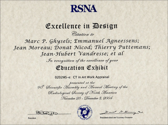 Award: Excellence in Design: RSNA 2004, Chicago • Education exhibit: CT in Art Work Appraisal