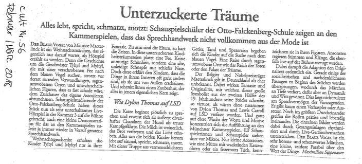 """Kritik zu unserem Live-Hörspiel """"Der Blaue Vogel"""" // Zeitschrift """"cult"""" Ausgabe Februar/März2018"""