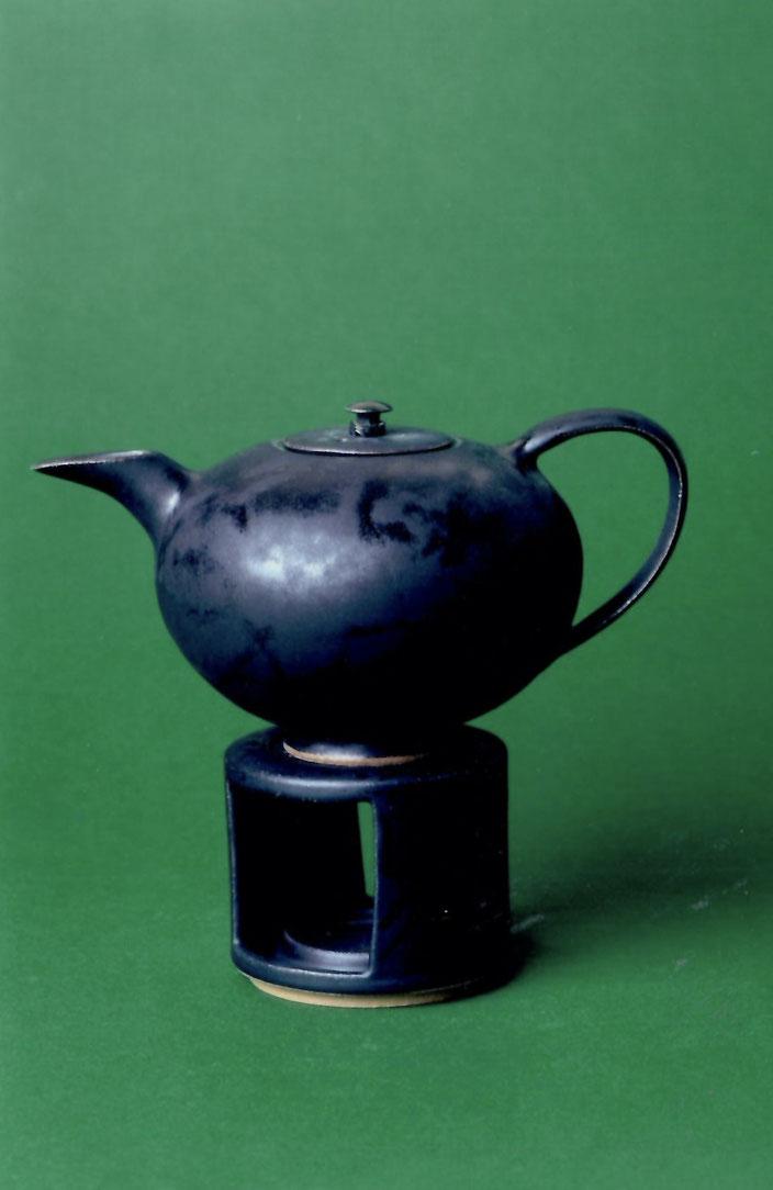 2006 tea set turned, black glaze