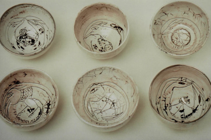 2000 bowls turned with incised drawing