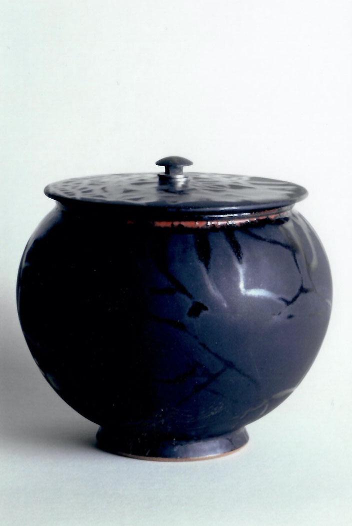 2005 box turned, black glaze with red craquelé