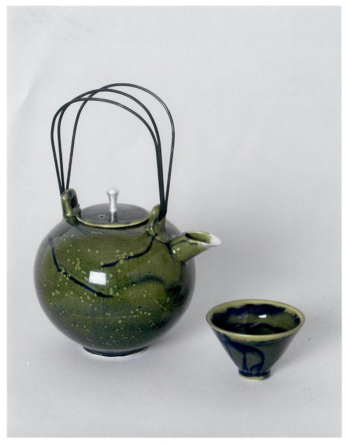 2005 tea set turned, green glaze with blue craquelé